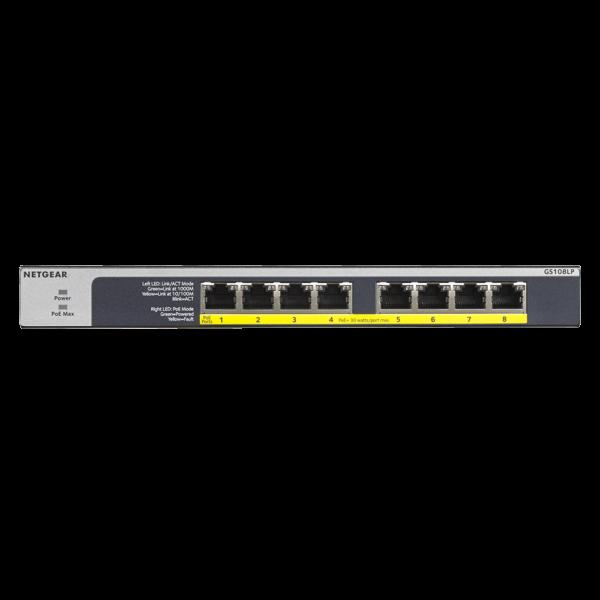 Netgear 8 PORT Gigabit POE+ 60W Switch GS108LP Front