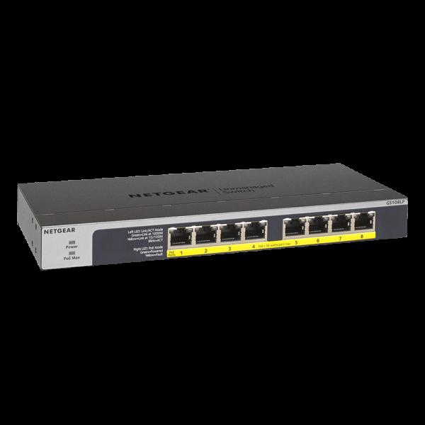 Netgear 8 PORT Gigabit POE+ 60W Switch GS108LP right