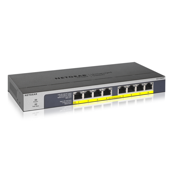 Netgear 8 PORT Gigabit POE+ 123W Switch GS108PP 24Aug17 hero