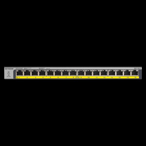 Netgear 16 PORT Gigabit POE+ 76W Switch GS116LP 6Feb18 front