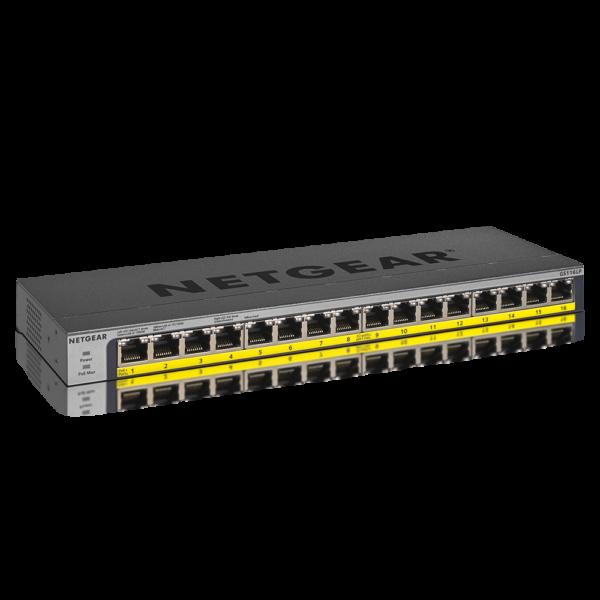 Netgear 16 PORT Gigabit POE+ 76W Switch GS116LP 6Feb18 hero
