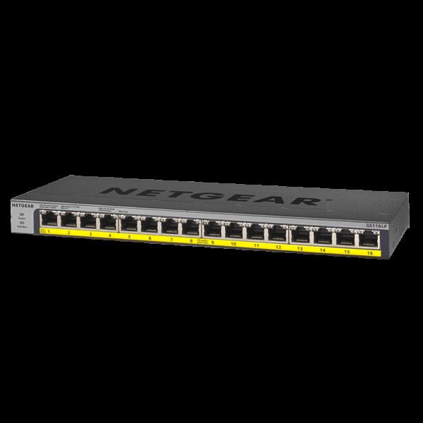 Netgear 16 PORT Gigabit POE+ 76W Switch GS116LP 6Feb18 left