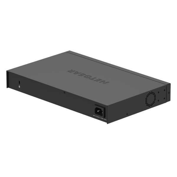Netgear 24 PORT Gigabit POE+ 190W Switch GS324P woShadow BackSide2 16Aug19