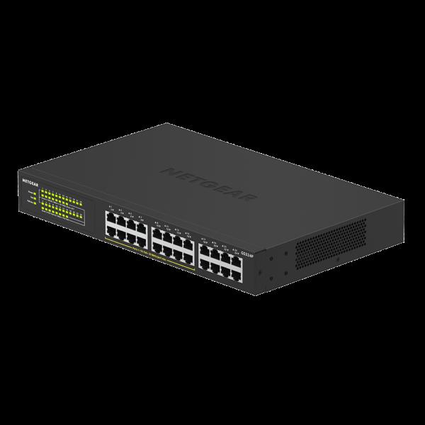 Netgear 24 PORT Gigabit POE+ 190W Switch GS324P woShadow Left 16Aug19