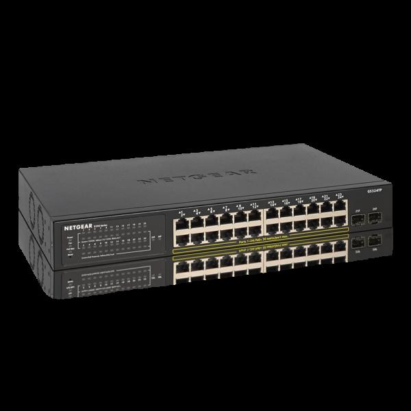 Netgear 24 PORT POE+ 2xSFP PRO Switch GS324TP 6Dec18 hero