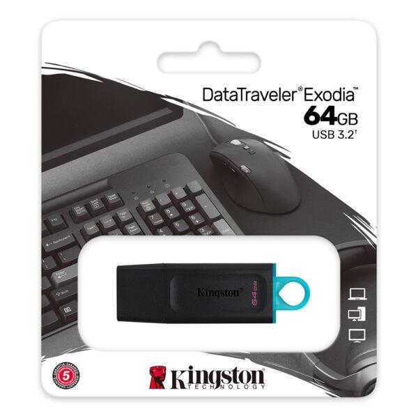 Kingston DataTraveler Exodia 64GB USB 3.2 Gen 1 Flash Drive DTX 64GB 3